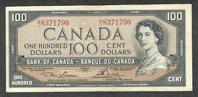 1954 $100.00 BC-43c VF+ SCARCE Bank of Canada QEII Nice OLD One Hundred Dollars