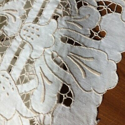 """Vtg table runner ivory linen taupe embroider intricate open cut work madeira 32"""""""