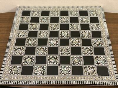 "Handmade Wood Chess Board Inlaid Mother of Pearl (16"")"