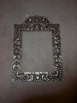 "VNTG Silver Pewter Wall Mirror Picture Frame 25"" Large Solid Metal Hand Hammered"