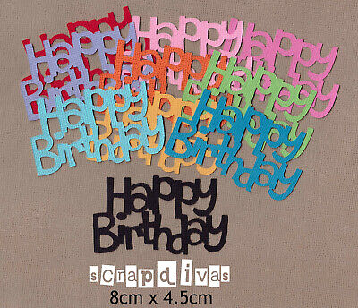 DESIGN 03 - HAPPY BIRTHDAY Die Cuts - Toppers - Cardstock - Scrapbooking x 10