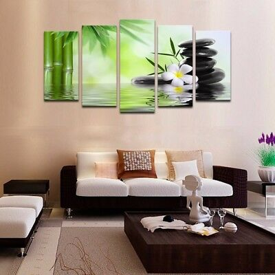 5Pcs Nature Bamboo Art Oil Painting Canvas Picture Print Modern Home Wall Decor