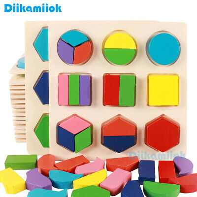 Children Early Educational Toy Wooden 3D Puzzle Geometric Shape Learning Toys