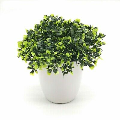 Enova Home Artificial Boxwood Grass in Round Decorative Vase For Home Office