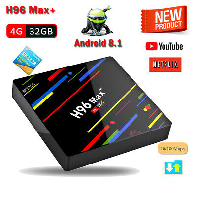 H96 Max Plus 4G+32G Android 8.1 Quad Core Smart TV BOX 4K Media Player Wifi UK