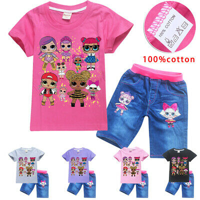 2pcs Girls Lol Surprise doll 100% Cotton Summer T shirt Tops+Denim Shorts Pants