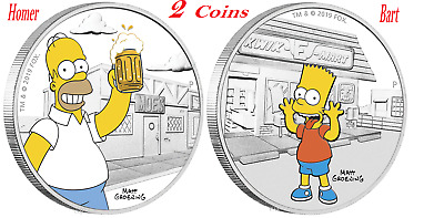 2-Coin Set 2019 The Simpsons - Homer & Bart Simpson 1oz $1 Silver 99.99% Proof