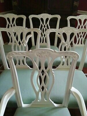 Set Of 6 Chippendale Dining Chairs Sturdy And Tight Tropical Palm Beach Regency