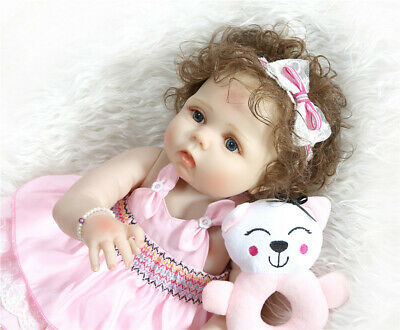 """23"""" Real Looking Reborn Baby Dolls Sweet Toddler Baby Girl Full Body Silicone"""