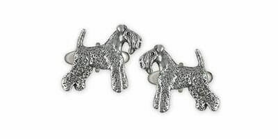Kerry Blue Terrier Jewelry Sterling Silver Handmade Kerry Blue Terrier Cufflinks