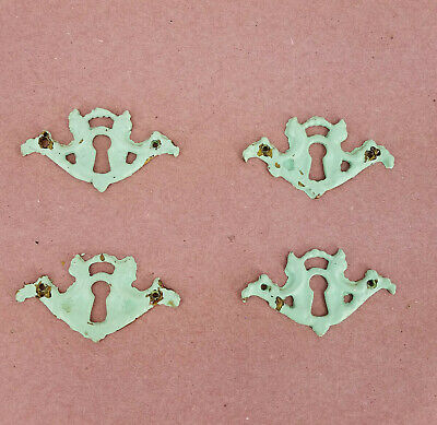Vtg Brass Shabby French Teal Green Rustic Escutcheon Key Hole Covers, Set of 4
