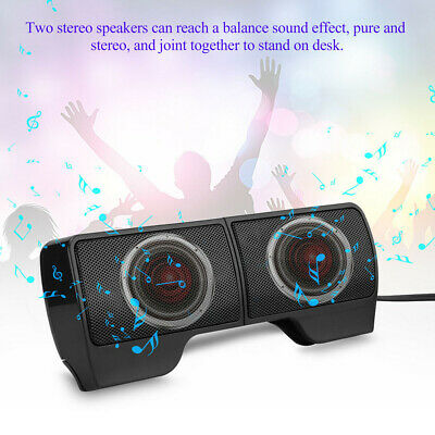 USB Clip-On Computer Sound Bar Stereo Laptop Desktop Notebook Mini Speakers