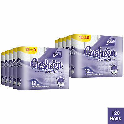 120 Rolls Cusheen Quilted Lavender 3 Ply Toilet Paper