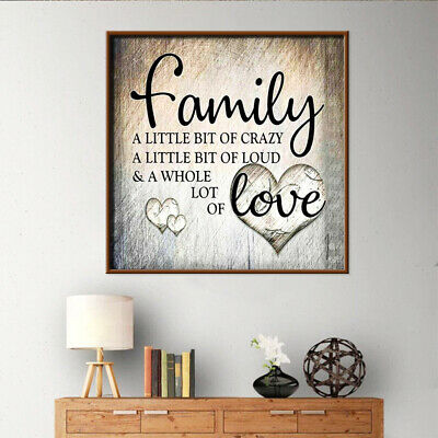 AU 5D Diamond Painting Family Love Letter DIY Cross Stitch Home Wall Decor Craft