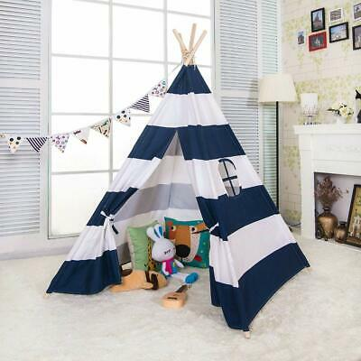 Large Canvas Kids Teepee Play Tent Childrens Wigwam Playhouse for Gift Navy Blue