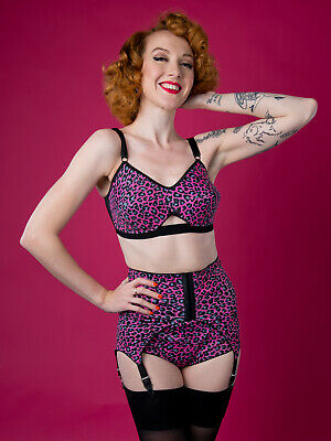 074 PINK Leopard print vintage style girdle, 6 suspender tabs, sizes S-5XL