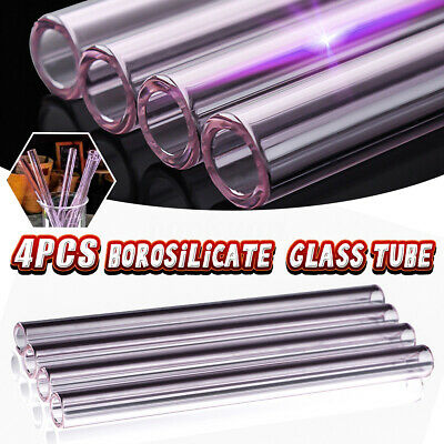 4Pcs Glass Tubing Borosilicate Blowing Pyrex Tubes Blow Pink 12mm x 150mm OD 2mm