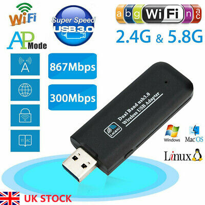 1200MBPS DUAL BAND USB Wifi Adapter Dongle Wireless LAN Network 2 4