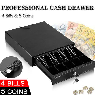 Heavy Duty Cash Drawer Register Electronic 4 Bills 5 Coins Spare Cash Tray POS