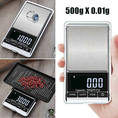 AU 500g 0.01 Accurate Pocket Scales Jewellery Electronic Milligram Jeweler Tool