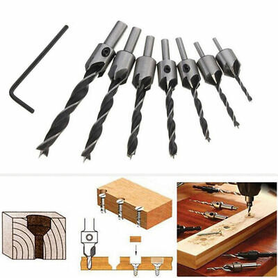 COUNTERSINK DRILL BIT 7pcs SET Adjustable Depth Stop Collars Woodworking New UK