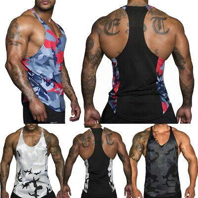 Activewear Tops Mens Gym Vest Bodybuilding Muscle Stringer Ribbed Vest Racerback Fitness