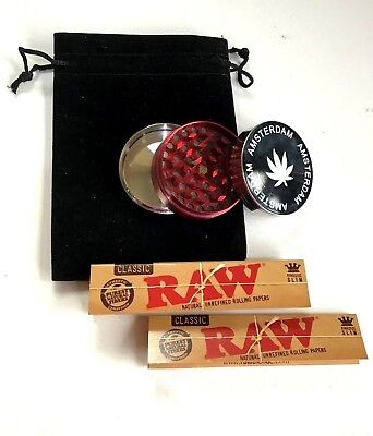 50Mm Grinder Metal Amsterdam 3 Part Herb Shark Teeth Magnetic Raw Papers Pouch