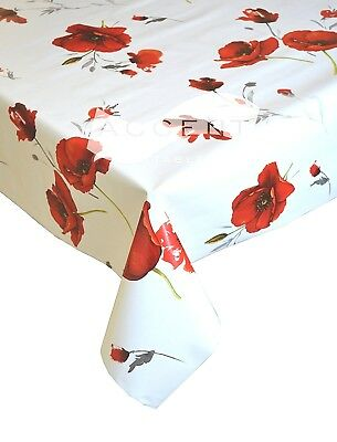 Indoor Outdoor Red Poppies Flowers Wipe Clean Vinyl 2 Metre Pvc Tablecloth £9.99