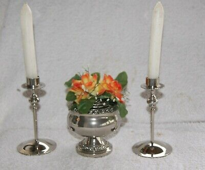 "Vintage Silver Plated Rose Bowl By  ""Ianthe"" & two silver plated candle sticks"