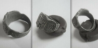 Medieval Knights Crusader CHRISTIAN Silver Ring with Castle and inscribed Hoop