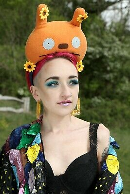Plush Orange Monster Festival Pom Pom Crown Headband Headdress Gobbolino
