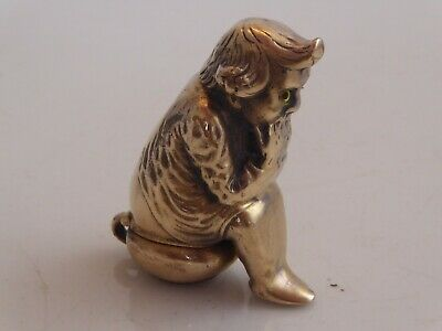 Brass Novelty Vesta Case Of Child On Potty