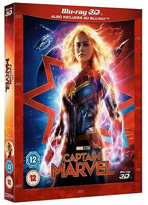 CAPTAIN MARVEL 3D + 2D Blu-ray - IN STOCK with slipcover - Experienced US Seller