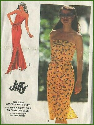 1980s Vintage Strapless Side Slit Dress Long or Short Sewing Pattern B 30 31