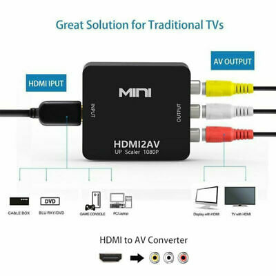 HDMI To AV Adapter Converter Cable CVBS 3RCA 1080P Composite Video Audio HD TV