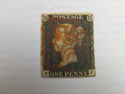 (4462) 1840 Penny Black (Ij) With Red Maltese Cross Cancel