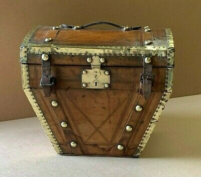 Rare Antique French Brass Bound Hatbox