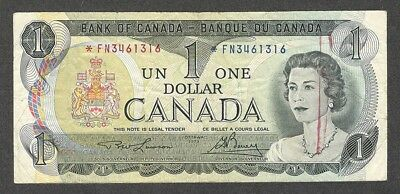 1973 *FN $1.00 BC-46aA F ** SCARCE Bank of Canada Key ASTERISK REPLACEMENT Note