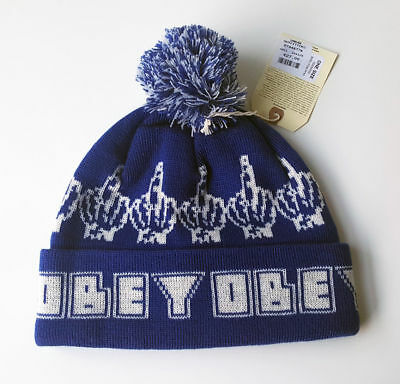bb6aa699 OBEY Lads Mens Designer Blue Beanie - One Size - Great & New - Ultra Rare