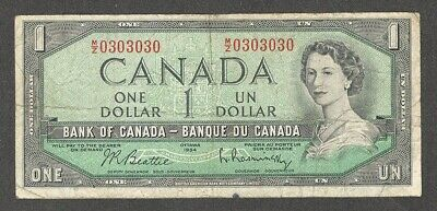 1954 RADAR REPEATER $1.00 ** 0303030 Very RARE 2-Digit Cycle Canada One Dollar