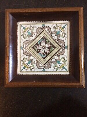 Beautiful Arts And Crafts Style Floral English Well Framed 6 Inch Tile