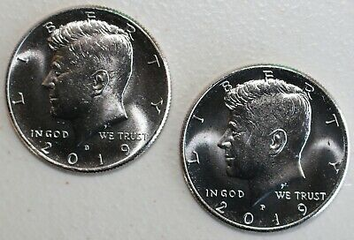 2019 P and D UNCIRCULATED Kennedy 2 Half Dollar Coin 50 Cents JFK Phili + Denver