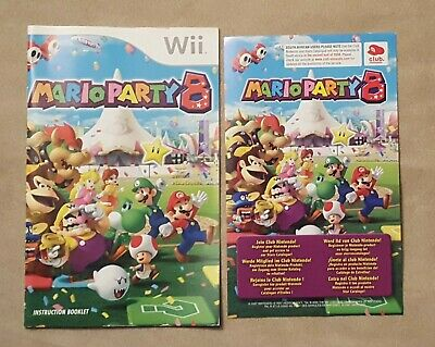 Nintendo Wii - Mario Party 8 - INSTRUCTION BOOK + VIP CARD ONLY - no game
