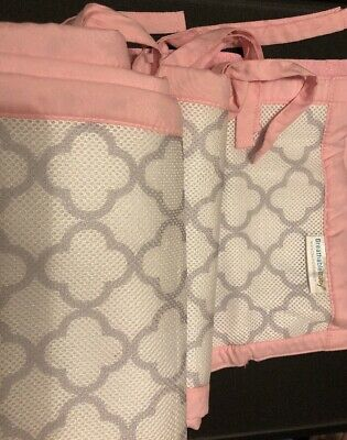 Breathable Baby Pink and White Crib Bumper Mesh Liner, Safe for Baby! w bonus