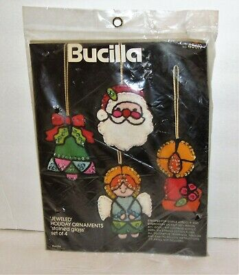 Bucilla Jeweled Holiday Ornaments Stained Glass Embroidery Kit 48619 Santa Angel