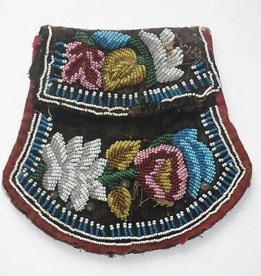 Antique Beaded Purse Pouch Bag Native American Indian Iroquois 1880s
