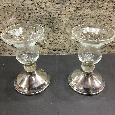 Sterling Silver And Glass Candle Holders