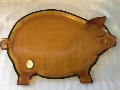 Vintage Tiara Exclusive Pig Tray Amber Glass