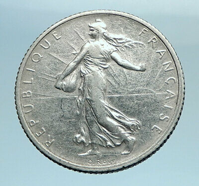 1918 FRANCE Antique Silver 1 Franc French Coin w La Semeuse Sower Woman i77742