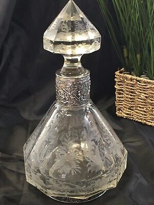 Antique 1800's Cut Crystal Etched Faceted Decanter 800 Sterling Silver Germany
